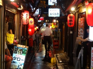 Yakitori Shops line the streets of this alley in Shinjuku.