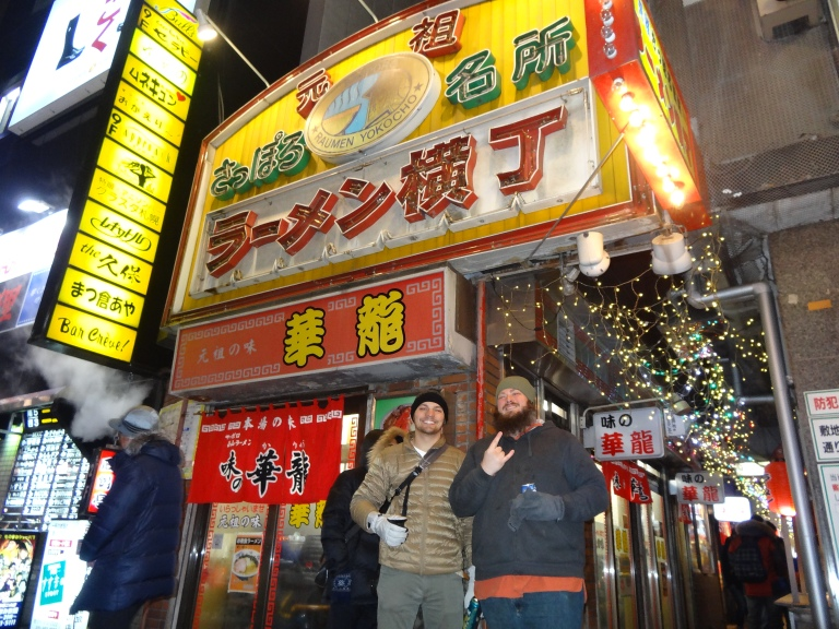 Ramen Alley on a blustery Thursday night in Sapporo.